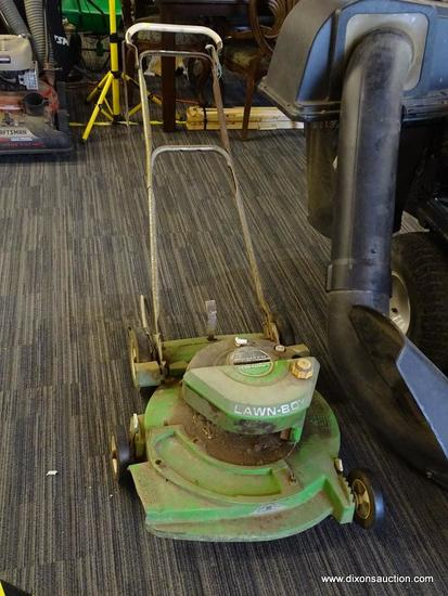 VINTAGE LAWN BOY MOWER; GREEN AND BLACK LAWN BOY SOLID STATE POWER PUSH MOWER. 21 IN CUTTING DECK.