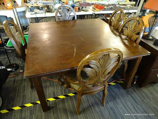 SQUARE DINING TABLE WITH CHAIRS; TABLE HAS SQUARE BLOCK STYLE FEET AND MEASURES 60 IN X 60 IN X 30