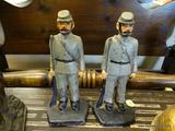 CAST IRON BOOKENDS; PAIR OF BOOKENDS IN THE FORM OF CONFEDERATE SOLDIERS STANDING AT ATTENTION.