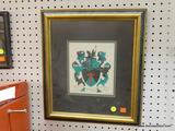 FRAMED AND MATTED CREST; BLACK AND GREEN SHIELD WITH RED COLORED FLAMING CROSS IN CENTER, BANNER
