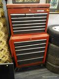 CRAFTSMAN TOOL CHEST; INCLUDES 2 TOTAL SECTIONS. THE TOP SECTION HAS 8 DRAWERS AND THE BOTTOM
