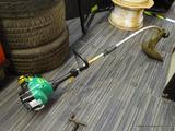 WEEDEATER BRAND WEED TRIMMER; IS A FEATHERLITE MODEL GAS POWERED WEED TRIMMER AND IS GREEN AND BLACK