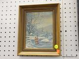 FRAMED OIL ON BOARD; DEPICTS A COUPLE ICE SKATING IN A MAPLE FRAME MEASURES 9 IN X 11 IN