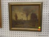 FRAMED LANDSCAPE PRINT ON BOARD; DEPICTS A HOODED FIGURE WITH A FLOCK OF BIRDS PECKING AT THE