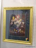 FRAMED AND MATTED FLORAL STILL LIFE PRINT; HAS GREEN MATTING IN A GOLD TONED FRAME. MEASURES 22 IN X