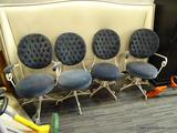 SET OF 4 CHAIRS; EACH HAS BLUE BUTTON TUFTED BACKS WITH SCROLLING WHITE METAL BASES ATOP 4 SPLAYED