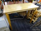 BAR TABLE; MAPLE 2 PERSON BAR TABLE WITH STRAIGHT BLOCK STYLE LEGS. MEASURES 42 IN X 19 IN X 35 IN