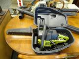 POULAN CHAINSAW; MODEL 2150. IS IN A HARD VINYL CARRYING CASE AND IS GOOD USED CONDITION.