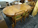 DINING SET; INCLUDES A SINGLE LEAF DINING TABLE WITH SABER LEGS (MEASURES 65 IN X 40 IN X 30 IN) AND