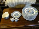 CURRIER & IVES BLUE TRANSFERWARE LOT; INCLUDES 14 DINNER PLATES, A GRAVY BOAT WITH UNDERPLATE, AND A