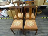 SET OF NEEDLE POINT CHAIRS; SET OF 4 FLAT BACK WOODEN CHAIRS WITH DUSTY ROSE FLORAL NEEDLEPOINT