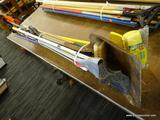 LOT OF ASSORTED HAND TOOLS; THIS LOT INCLUDES OVER 10 HAND TOOLS INCLUDING A SHOVEL, A MOP, A