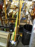 LOT OF ASSORTED HAND TOOLS; THIS LOT INCLUDES OVER 10 HAND TOOLS INCLUDING A DUSTER, A MOP, A
