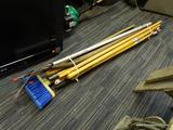 LOT OF ASSORTED HAND TOOLS; LOT INCLUDES OVER 15 DIFFERENT TOOLS SUCH AS A PITCH FORK, BROOM, WOODEN