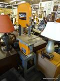 RIDGID BRAND BAND SAW; ORANGE AND BLACK IN COLOR AND IN GOOD USED CONDITION! MODEL 828848. MEASURES