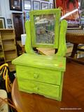 PAINTED SHAVING MIRROR AND DRAWERS; HAND PAINTED LIME GREEN MIRROR ON STANDS CONNECTED TO TWO SMALL