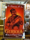 METAL GURKHA CIGAR ADVERTISING SIGN; LARGE RECTANGULAR METAL SIGN THAT SAYS