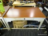 CREAM COLORED SINGLE DRAWER DESK/TABLE WITH WOOD GRAIN TOP; THIS IS A PERFECTLY SIZED, WELL-MADE,