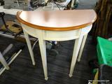 HALF-MOON SHAPED HALL TABLE WITH WOOD GRAIN TOP AND CREAM SPECKLED BASE; OFF WHITE IN COLOR (FACTORY