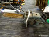 VINTAGE HOMELITE CHAINSAW; BLUE GAS POWERED CHAINSAW MADE BY HOMELITE. C-51 CONVERTIBLE DRIVE. 18 IN