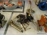 ASSORTED TOOL LOT; THIS 7 PIECE LOT COMES WITH 5 ASSORTED CLAMPS, A MINI HAND PULL, AND A SMALL