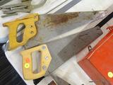 LOT OF SAWS; THIS LOT INCLUDES 2 WOODEN HANDLED SAWS. BOTH ARE A BLONDE WOOD. ONE IS MADE BY