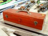 RED METAL TOOLBOX AND CONTENTS; RECTANGULAR METAL TOOL BOX FILLED WITH SCREWDRIVERS, WRENCHES, AND