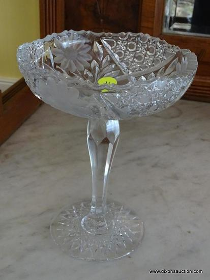 (DR) VINTAGE CUT GLASS COMPOTE DISH; QUILTED STAR PATTERN WITH ETCHED FLORAL DESIGN AND SAW TOOTH