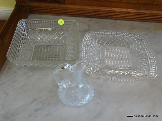 (DR) CUT GLASS LOT; INCLUDES 3 TOTAL PIECES SUCH AS CUT GLASS CRUET, SQUARE DIAMOND PATTERNED BOWL,