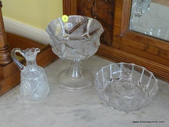 (DR) CUT GLASS LOT; INCLUDES 3 PIECES SUCH AS PATTERNED CRUET, PEDESTAL COMPOTE DISH, AND ROUND BOWL