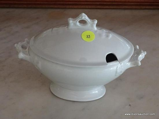 (DR) JOHNSON BROTHERS ROYAL IRONSTONE CHINA GRAVY BOAT WITH LID; WHITE IN COLOR, MARKING ON