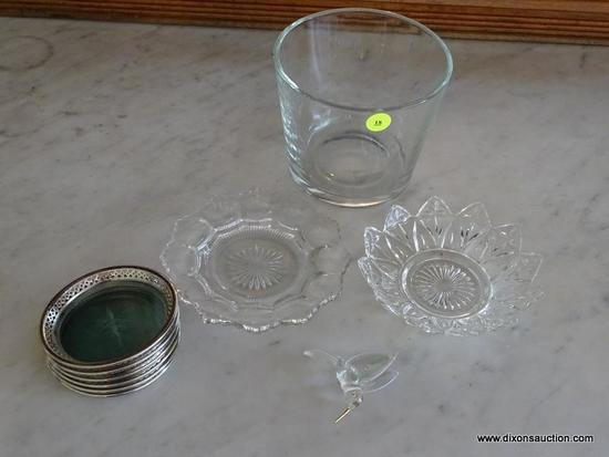 (DR) ASSORTED GLASS SERVING PIECES; INCLUDES ICE BUCKET (5.5 IN DIAMETER, 5 IN TALL), VINTAGE