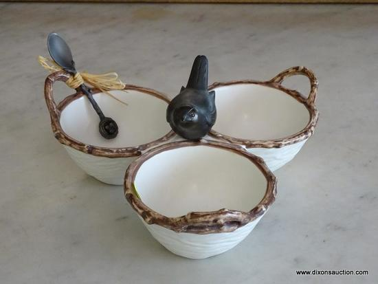 (DR) NESTING MUDPIE BRAND 3-BOWL DISH; 3 NEST TRIMMED DISHES WITH HANDLES, CONNECTED BY A BLACKBIRD