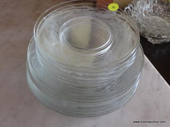 (DR) GLASS SALAD AND DESSERT PLATES; TOTAL OF 15 PIECES, 7 DESSERT PLATES AND 8 SALAD PLATES. ALL