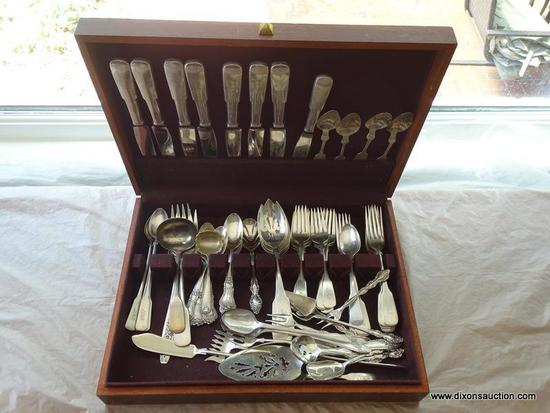 (DR) WOODEN FLATWARE BOX AND CONTENTS; TOTAL OF 68 PIECES SUCH AS 8 BUTTER KNIVES, 5 STERLING