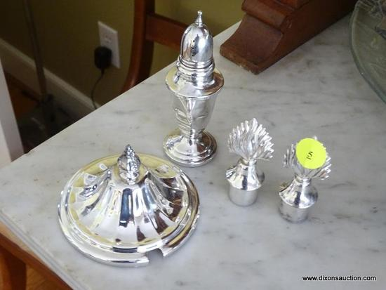 (DR) ASSORTED STERLING AND SILVER-PLATE ITEMS; TOTAL OF 4 PIECES. INCLUDES ONE SALT SHAKER MARKED
