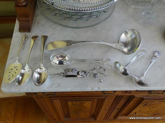(DR) ASSORTED SILVER-PLATE AND STERLING SERVING PIECES; TOTAL OF 8 PIECES INCLUDING 1847 ROGERS BROS