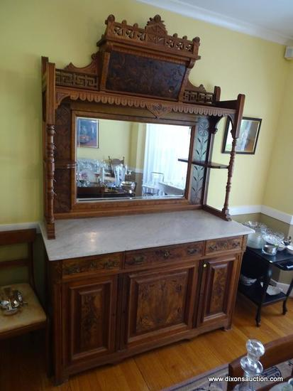 (DR) ANTIQUE EASTLAKE MIRRORED BUFFET/SIDEBOARD; 2 PIECE SET WITH CARVED MIRRORED HUTCH PERCHED ON A