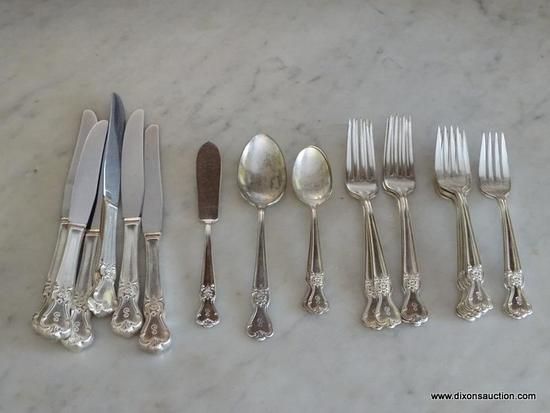 (DR) VINTAGE FLATWARE BAG LOT; LOCATED IN BUFFET DRAWER, TOTAL OF 21 PIECES INCLUDING 7 OLD COMPANY