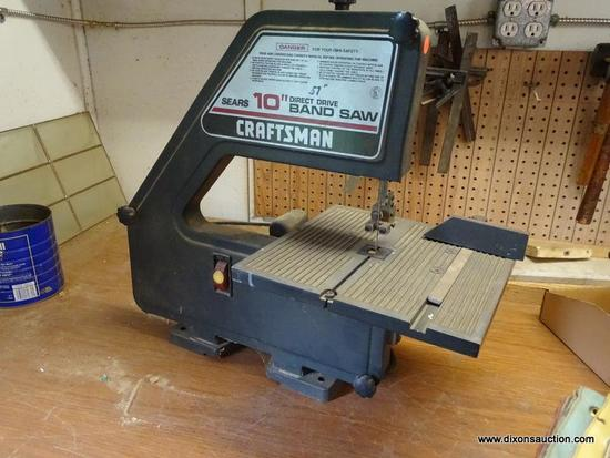 (WSHOP) CRAFTSMAN 10 IN BAND SAW; HAS DIRECT DRIVE. MODEL 113.244510. IN GOOD USED CONDITION AND