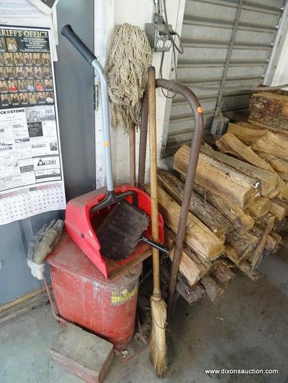 (WSHOP) CLEANING LOT; INCLUDES A BROOM, A LONG HANDLED DUSTPAN, A BLACK METAL DUSTPAN, A MOP, AND AN