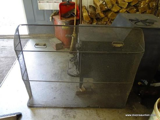 (WSHOP) FIREPLACE GRATE; IRON AND MESHED WIRE 2 HANDLED FIREPLACE GRATE. MEASURES 42 IN X 8 IN X 33
