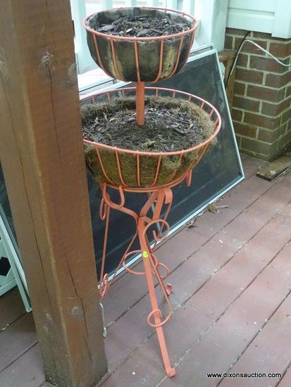 (OUT) BASKET PLANTER; 2 TIER METAL ORNAMENTAL BASKET PLANTER ON STAND- 15 IN DIA X 41 IN H