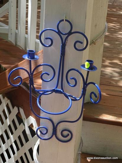 (OUT) PR OF CANDLE SCONCES;PR OF BLUE PAINTED METAL CANDLE SCONCES- 12IN X 20 IN