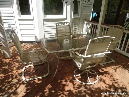 (OUT) PATIO TABLE AND CHAIRS; ALUMINUM AND GLASS TOP PATIO TABLE- 64 IN X 20 IN X 29 IN AND 4