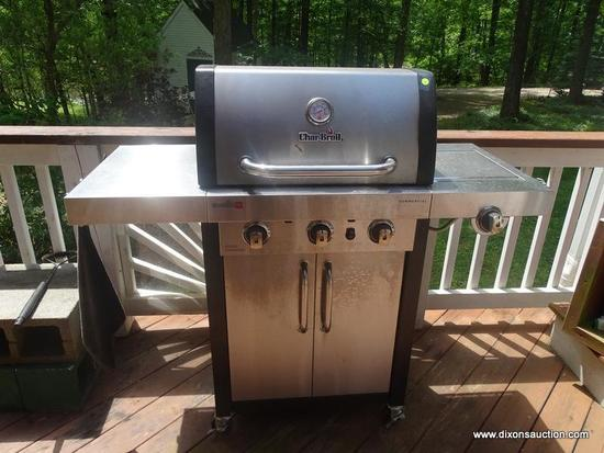 (OUT) GAS GRILL; CHAR BROIL STAINLESS STEEL GAS GRILL WITH SIDE BURNER - 52 IN X 21 IN X 50 IN ( ASK