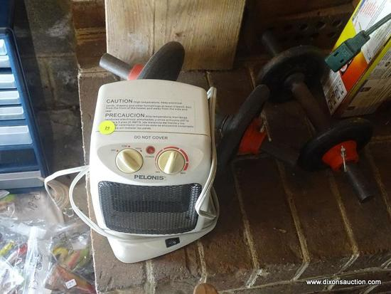 (BAS) HEATER AND WEIGHTS; PELONIS ELECTRIC HEATER AND A PAIR OF 5 LB. BARBELLS