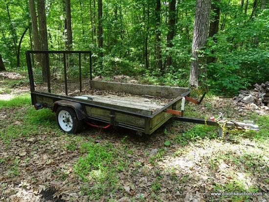 TRAILER; 8 FT UTILITY TRAILER- LIFT RAMP METAL MESH WIRE BASE WITH TREATED PINE FLOORING AND SIDES,