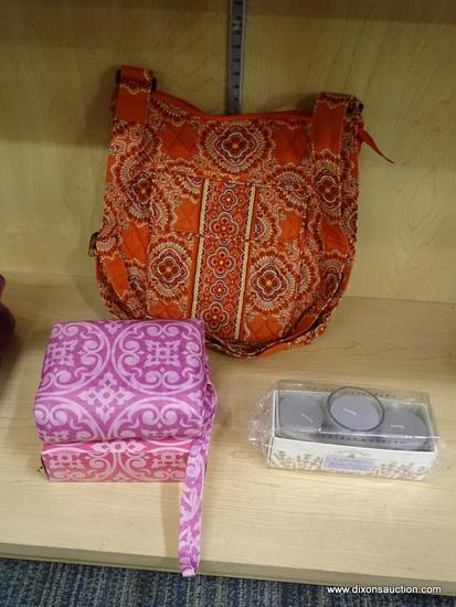 (R6B) ASSORTED ITEMS LOT; TOTAL OF 3 ITEMS SUCH AS VERA BRADLEY CROSSBODY TOTE BAG IN PEACOCK