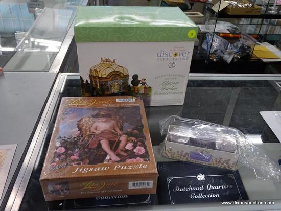 (R6B) ASSORTED ITEMS LOT; TOTAL OF 3 PIECES INCLUDING DEPARTMENT 56 DICKENS VILLAGE GIFT SET